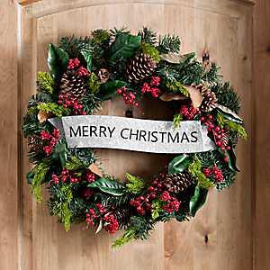 Magnolia Leaf and Pine Merry Christmas Wreath