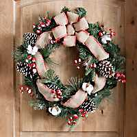 Rustic Cotton and Berry Pine Wreath