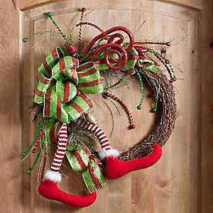 Merry and Bright Elf Leg Wreath