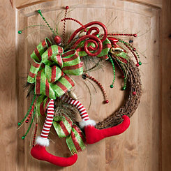 Merry and Bright Elf Leg Wreath