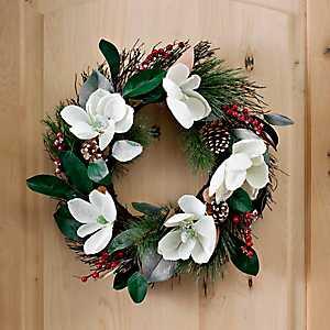 Snow Magnolias and Berries Wreath