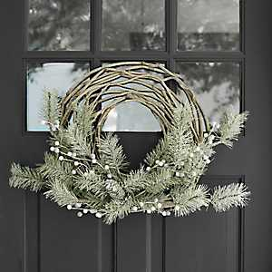 Wrapped Pine and White Berries Wreath
