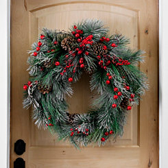 Flocked Pine and Berries Wreath