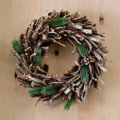Golden Cedar and Pine Cones Wreath