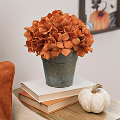 Orange Hydrangea Arrangement in Galvanized Bucket