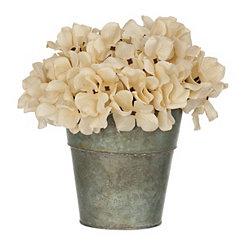 Cream Hydrangea Arrangement in Galvanized Bucket