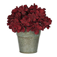 Red Hydrangea Arrangement in Galvanized Bucket