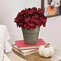 Red Hydrangea Arrangement in Galvanized Bucket