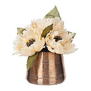 Cream Peony Arrangement in Metallic Pot