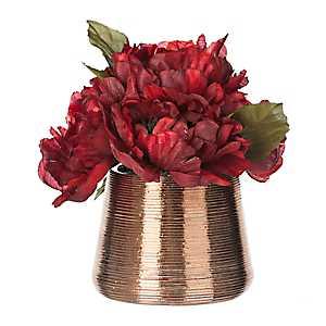 Red Peony Arrangement in Metallic Pot