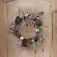 Metallic Pine and Feathers Wreath