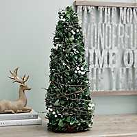 Preserved Boxwood and Berries Cone Tree, 22 in.
