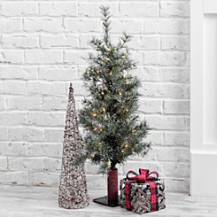 Pre-Lit Glitter Alpine Artificial Tree, 3 ft.