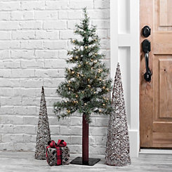 Pre-Lit Glitter Alpine Artificial Tree, 4 ft.