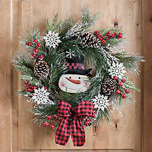 Old-Fashioned Snowman and Pine Wreath
