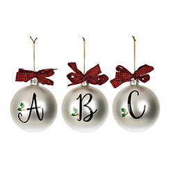 Mistletoe Monogram Glass Ornaments