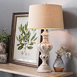 Abigail Weathered White Table Lamp