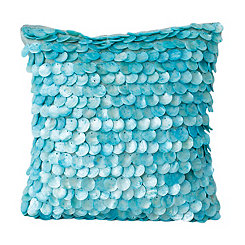 Aqua Capiz Shell Pillow