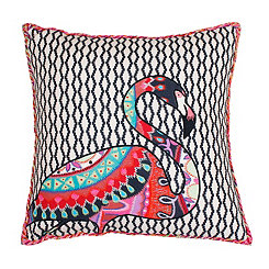 Zazu Flamingo Embroidered Pillow