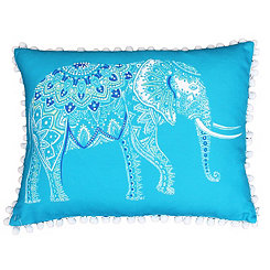 Blue Emmett Elephant Reversible Accent Pillow