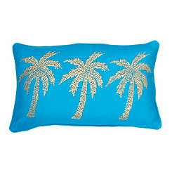 Blue Patty Palm Tree Accent Pillow