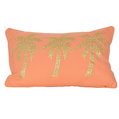 Coral Patty Palm Tree Accent Pillow