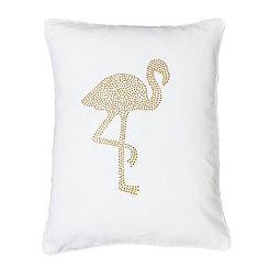 White Phyllis Flamingo Pillow