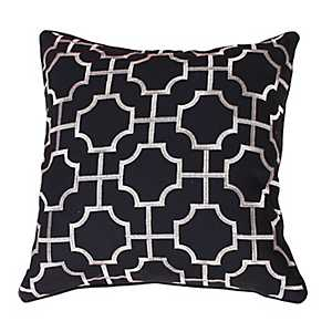 Black Tonianne Geometric Embroidered Pillow
