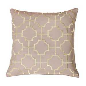 Tan Tonianne Geometric Embroidered Pillow