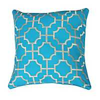 Blue Tonianne Geometric Embroidered Pillow