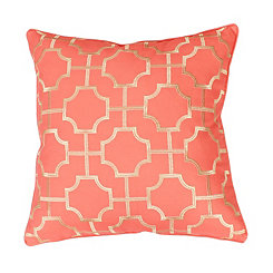 Coral Tonianne Geometric Embroidered Pillow