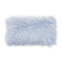 Light Blue Keller Faux Fur Accent Pillow