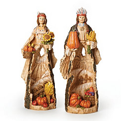 Native American Harvest Scene Statues, Set of 2