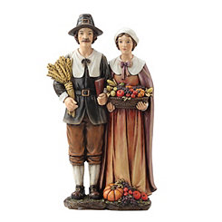 Harvest Pilgrim Couple Statue