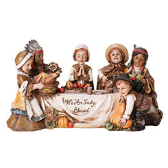 Children First Thanksgiving Scene Statue