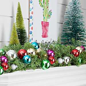Pre-Lit Colorful Ornament Cypress Garland