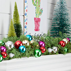 Pre-Lit Colorful Ornament Cypress Garland