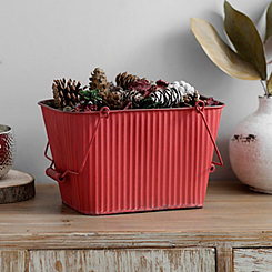 Distressed Corrugated Red Basket with Handles