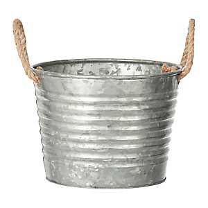 Round Galvanized Metal Bucket with Rope Handles