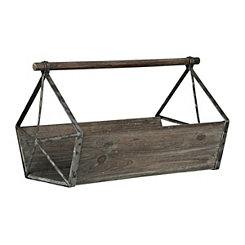 Antique Wood and Metal Tool Caddy