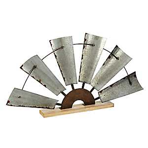 Distressed Galvanized Standing Half Fan