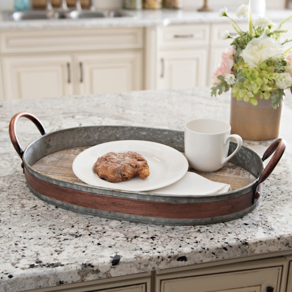 Wood Tray With Galvanized Metal And Copper