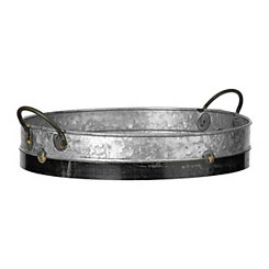 Galvanized Metal Tray with Black Trim
