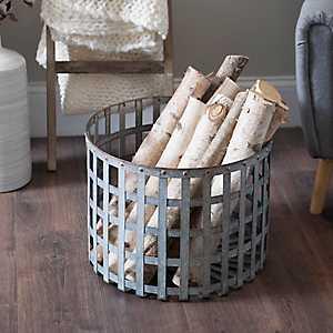 Open Weave Galvanized Metal Basket