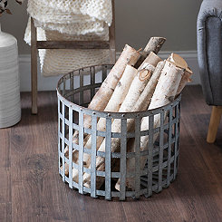 Open Weave Galvanized Metal Basket