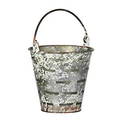 Olive Iron Tabletop Bucket
