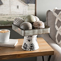 Galvanized and Distressed White Pedestal Tray