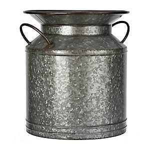 Wide Galvanized Metal Jug Vase