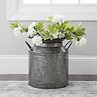 Wide Galvanized Metal Jug Vase