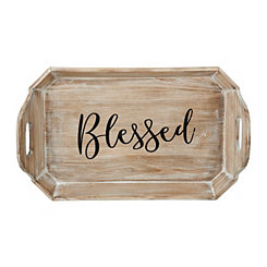 Blessed Natural Wood Tray